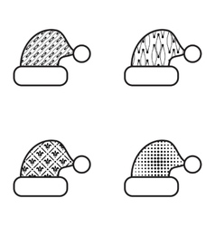 Black and white christmas hat icon set vector
