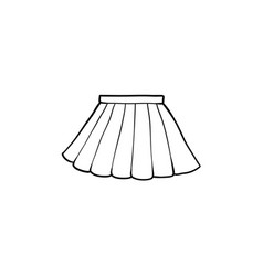 Black and white drawing of pleated mini skirt vector