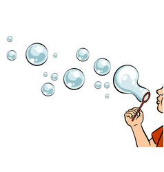 Blowing bubbles pop art vector