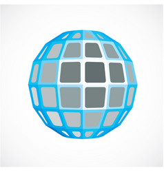 Blue faceted orb created from squares dimensional vector