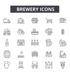 brewery line icons for web and mobile editable vector image