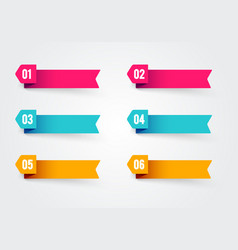 Bullet point flags retro color banner with number vector