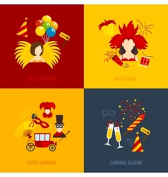 Carnival icons flat composition vector image