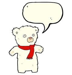 cartoon cute polar bear with speech bubble vector image