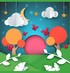 Cartoon paper landscape cloud star moon tree vector
