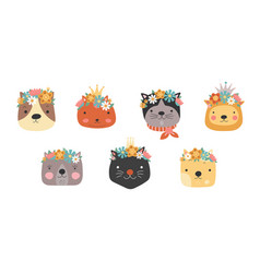 Cat heads with flower crown cute cats in floral vector
