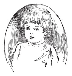 Child face in this picture vintage engraving vector