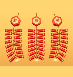 chinese fireworks firecrackers bunch garland icon vector image