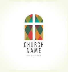 Church cross window logo vector
