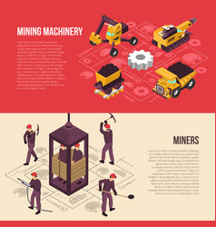 Coal mining 2 horizontal banners vector