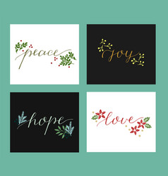 Collection with 4 holiday cards made hand vector