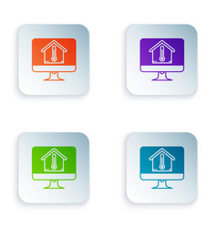Color computer monitor with house temperature icon vector