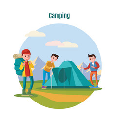 colorful camping and backpacking template vector image