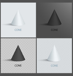 cones on dark light and transparent background vector image