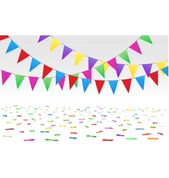 confetti floor and flags vector image