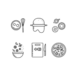 Cooking pizza line icons set vector image