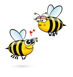 Cute cartoon bees in love on white vector