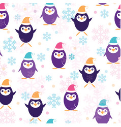 cute penguins in santa claus hat seamless pattern vector image