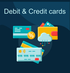 debit and credit card flat concept icon vector image