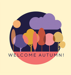 decorative autumn forest with violet and blue vector image