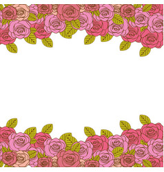 Decorative border with realistic roses design vector