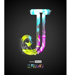 Design Light Effect Alphabet Letter J vector