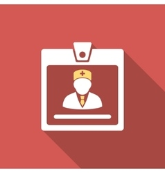 Doctor Badge Flat Square Icon with Long Shadow vector