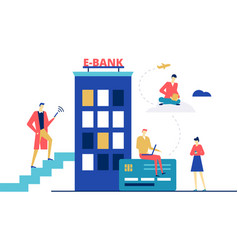 e-banking concept - flat design style colorful vector image