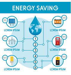 Energy saving infographic flat style vector
