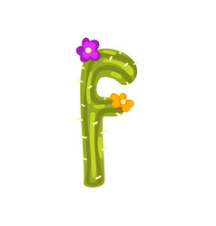 f letter in the form of cactus with purple vector image