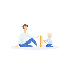 father ad his kid playing building blocks family vector image
