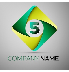 Five number colorful logo in the rhombus template vector