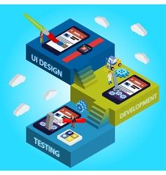 Flat 3d isometric UI design vector image