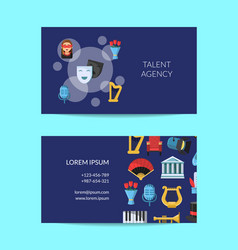 flat theatre icons business card with vector image