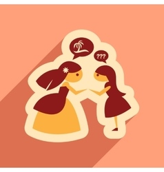 Flat web icon with long shadow Bride and friend vector image