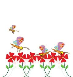 Fly dragonfly in flower garden vector image