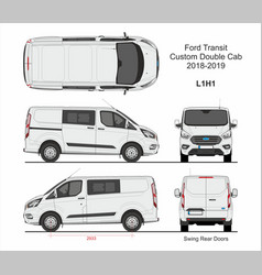 Ford transit custom delivery van l1h1 2018-2019 vector