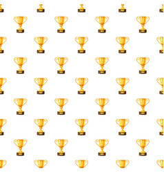 Gold trophy cup pattern vector