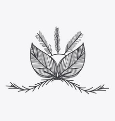 gray rustic emblem leaves icon vector image