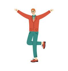 Guy stands raising his hands ang leg up cartoon vector