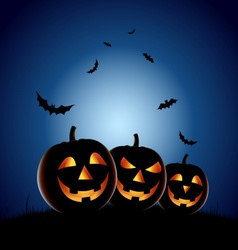 Halloween night backdrop with pumpkins vector