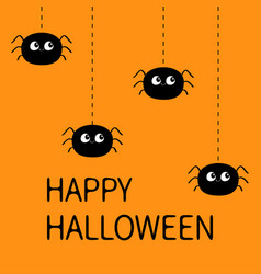 Happy halloween spider set four hanging black vector