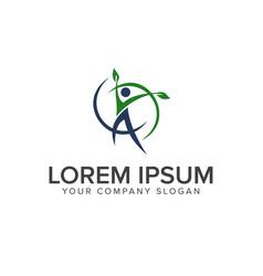 healthy people logo leaf logo design concept vector image