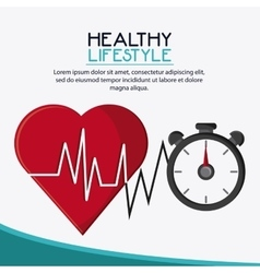 Heart chronometer healthy lifestyle design vector