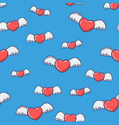 hearts with wings seamless pattern vector image