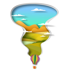 Hot air balloon flying over green hills and river vector