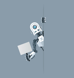 Humanoid robot look out corner with poster in hand vector