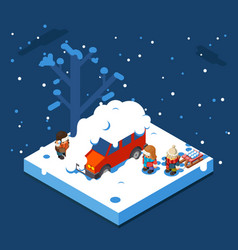 isometric snowball winter boys walking sleigh snow vector image