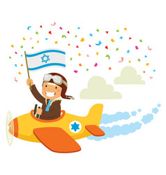 Israeli independence day airplane flypast vector