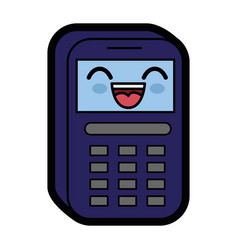 Kawaii phone icon vector